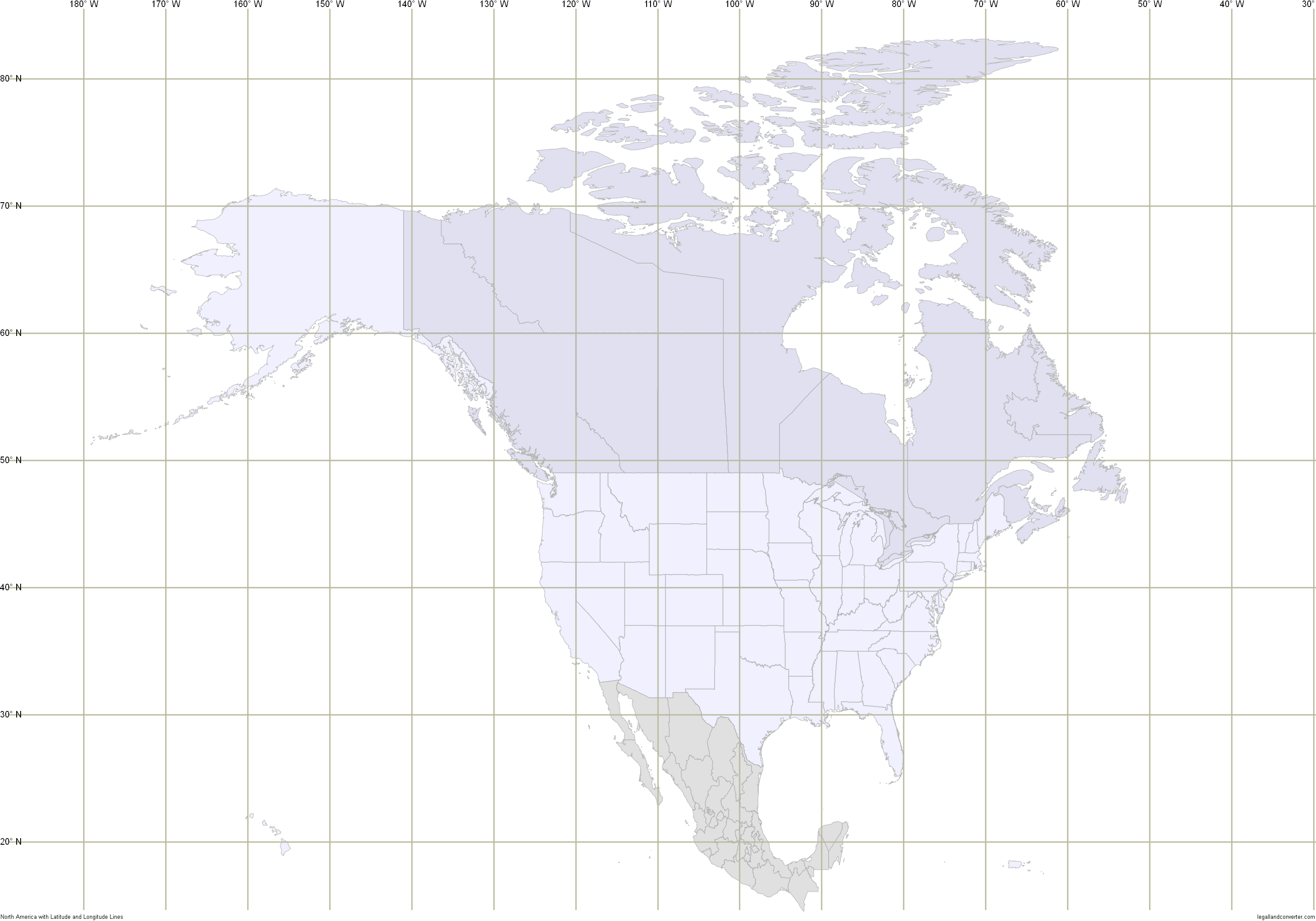 Map of North America with Latitude and Longitude Grid
