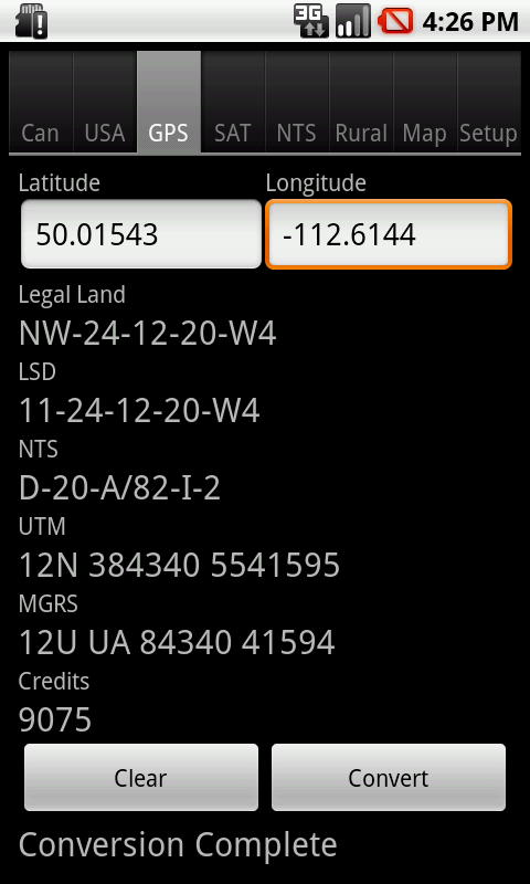 Android: Convert Latitude and Longitude to Canadian Legal Land Description