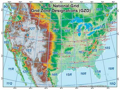 Military Grid Reference System - Map of the us with longitude and latitude
