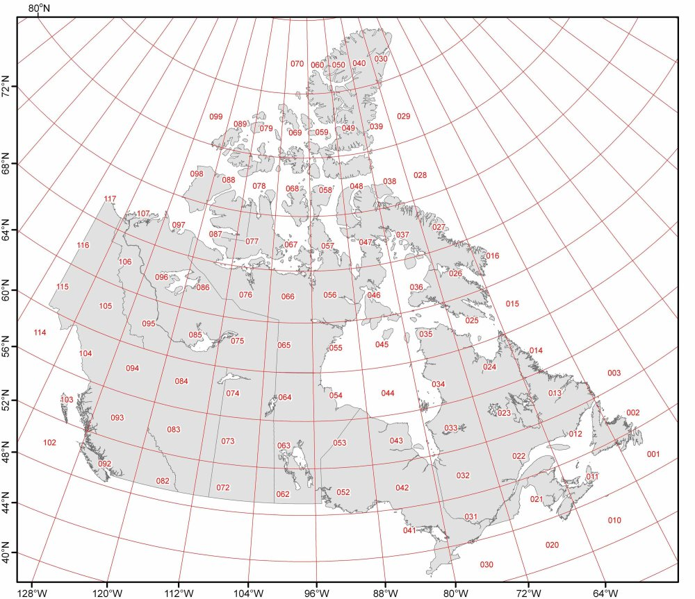 Canada Map Longitude National Topographic System (NTS BC)